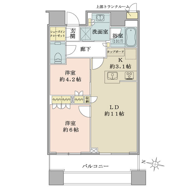 ブリリアタワーズ目黒 ノースレジデンスの間取図/20F/10,780万円/2LDK+SIC/56.45 m²