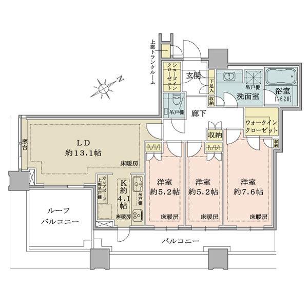 ブリリアタワーズ目黒 ノースレシデンスの間取図/39F/23,300万円/3LDK/86.21 m²