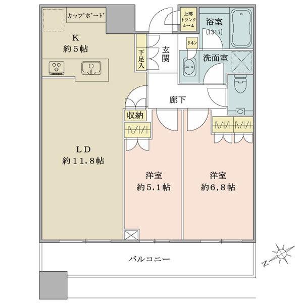 ブリリアタワーズ目黒 サウスレジデンスの間取図/36F/13,200万円/2LDK/62.57 m²