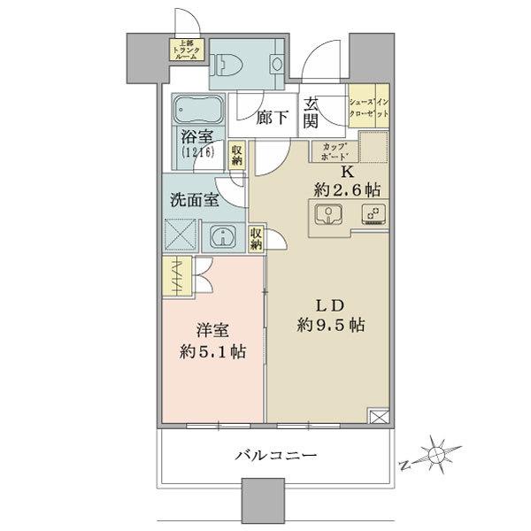 ブリリアタワーズ目黒 サウスレジデンスの間取図/18F/8,800万円/1LDK+SIC/42.91 m²