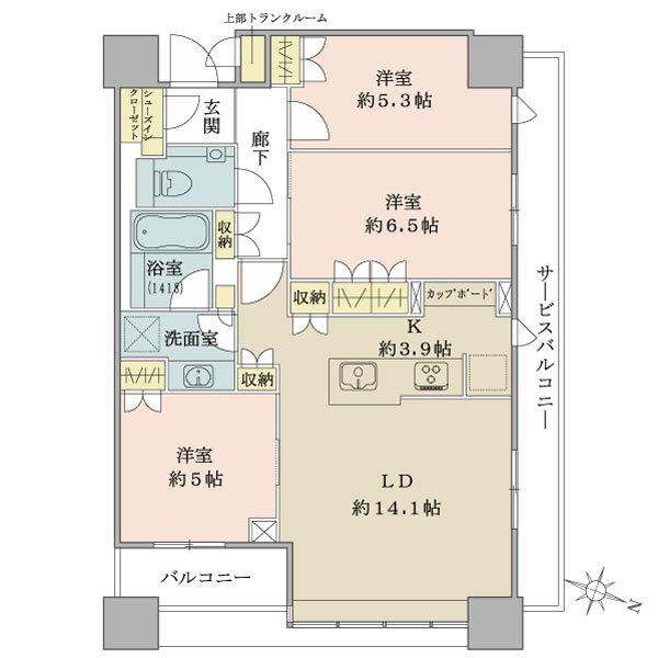 ブリリアタワーズ目黒 ノースレジデンスの間取図/37F/17,900万円/3LDK+SIC/75.81 m²