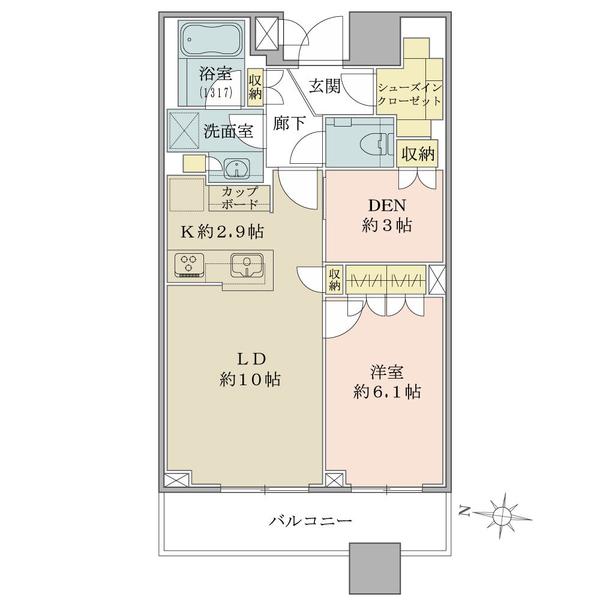 ブリリアタワーズ目黒 ノースレジデンスの間取図/16F/10,850万円/1LDK+DEN+SIC/54.42 m²