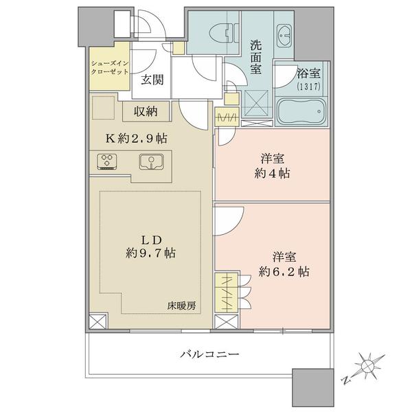 ブリリアタワーズ目黒 サウスレジデンスの間取図/22F/9,480万円/2LDK/54.64 m²