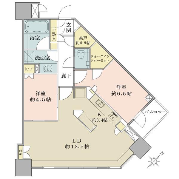 ブリリアタワーズ目黒 ノースレジデンスの間取図/18F/15,800万円/2LDK+WIC+N/66.29 m²