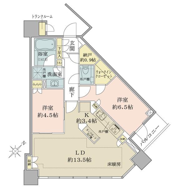 ブリリアタワーズ目黒 ノースレジデンスの間取図/17F/13,830万円/2LDK/66.29 m²