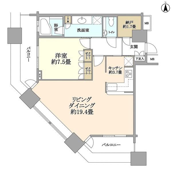 ミッドサザンレジデンス御殿山の間取図/20F/8,650万円/1LDK/71.67 m²