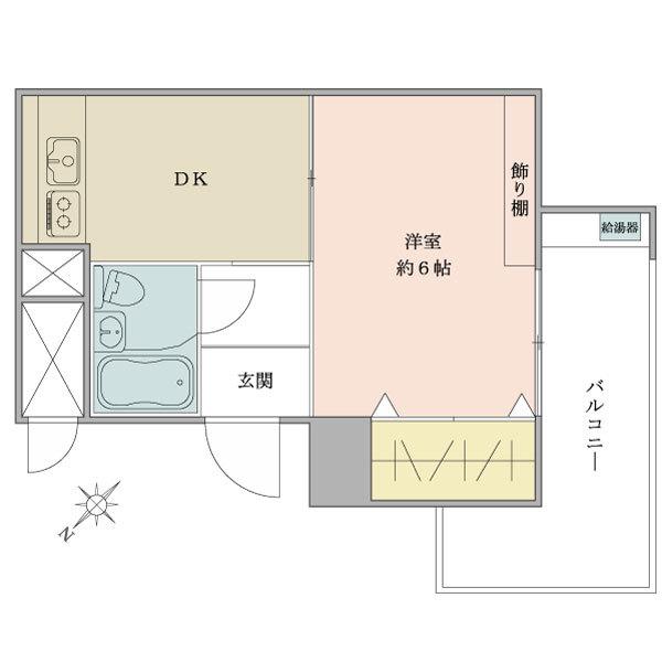 東建東五反田マンションの間取図/6F/1,490万円/1K/25.9 m²
