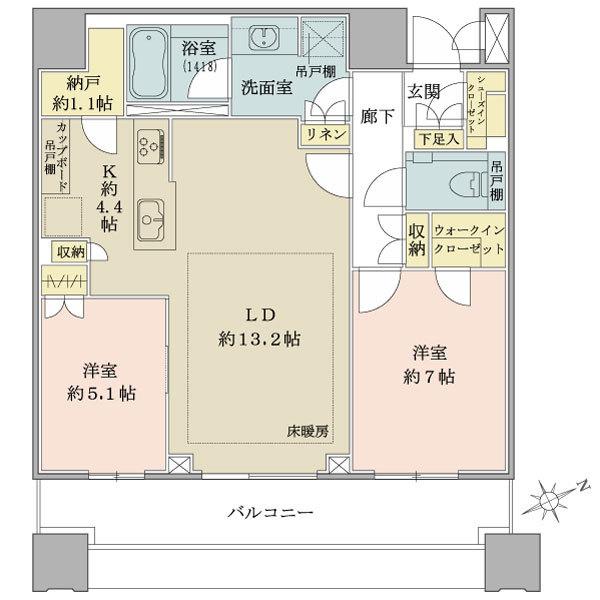 ブリリアタワーズ目黒 サウスレジデンスの間取図/22F/17,170万円/2LDK/73.45 m²