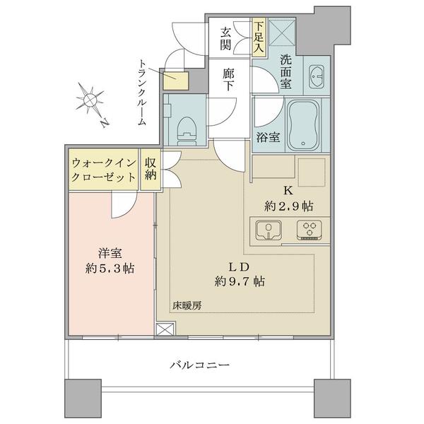 ブリリアタワーズ目黒 サウスレジデンスの間取図/9F/8,950万円/1LDK+WIC/44.61 m²