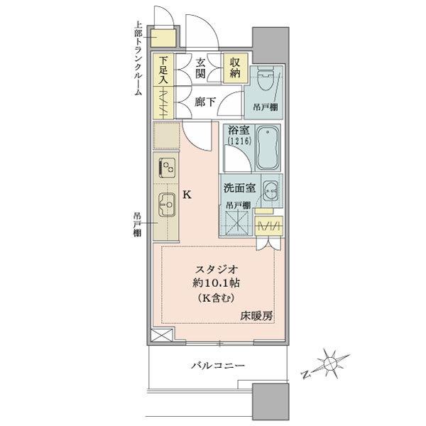 ブリリアタワーズ目黒 サウスレジデンスの間取図/12F/5,980万円/1R/30.05 m²