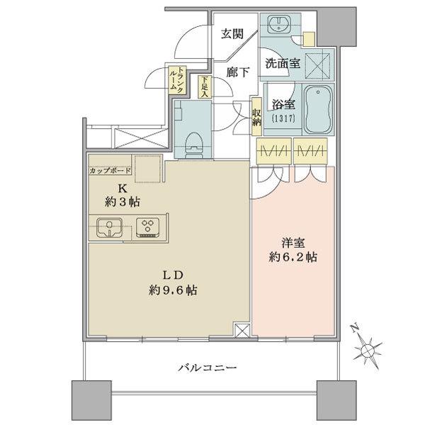 ブリリアタワーズ目黒 サウスレジデンスの間取図/8F/8,700万円/1LDK/45.97 m²