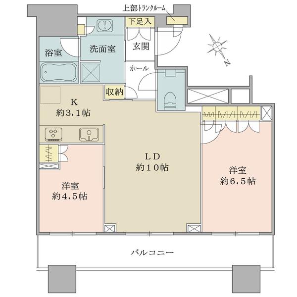 ブリリアタワーズ目黒 サウスレジデンスの間取図/17F/10,980万円/2LDK/55.63 m²