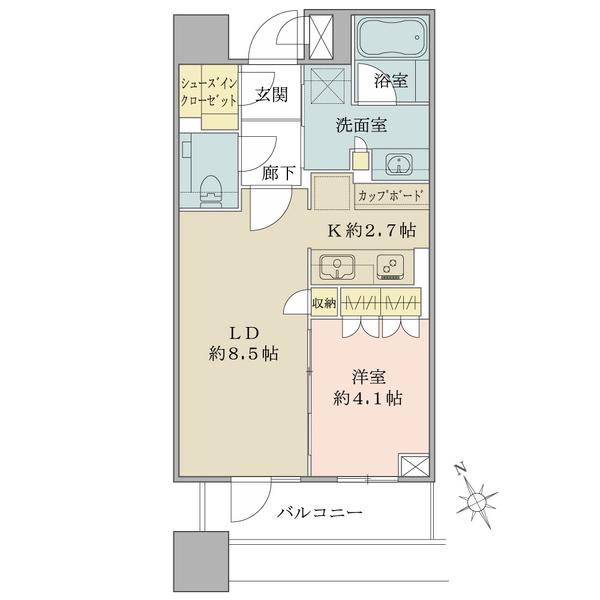 ブリリアタワーズ目黒 ノースレジデンスの間取図/1F/7,680万円/1LDK/40.13 m²