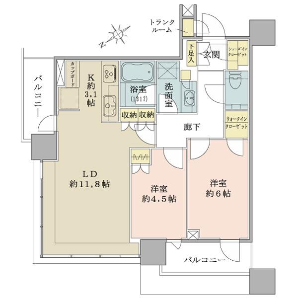 ブリリアタワーズ目黒 サウスレジデンスの間取図/4F/11,200万円/2LDK+WIC/60.61 m²