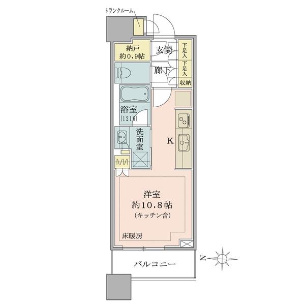 ブリリアタワーズ目黒 ノースレジデンスの間取図/18F/6,580万円/1R+N/30.78 m²