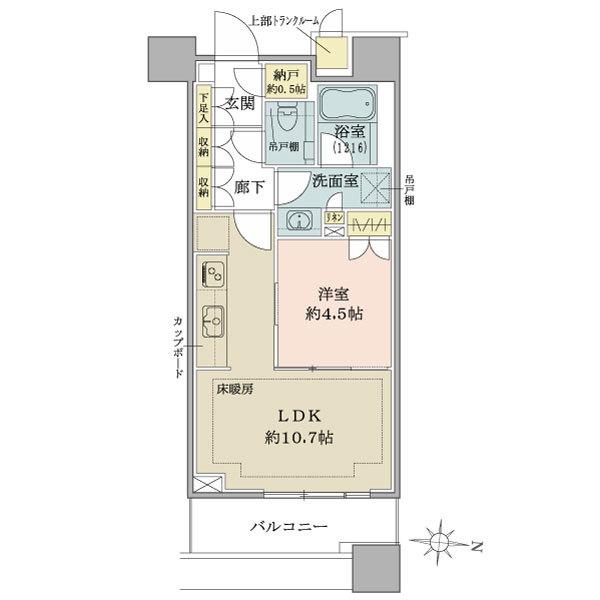 ブリリアタワーズ目黒 ノースレジデンスの間取図/15F/7,430万円/1LDK/39.97 m²