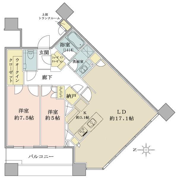 ブリリアタワーズ目黒 ノースレジデンスの間取図/36F/17,800万円/2LDK+SIC/77.38 m²
