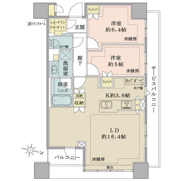 ブリリアタワーズ目黒 ノースレジデンスの間取図/18F/13,900万円/2LDK/68.55 m²