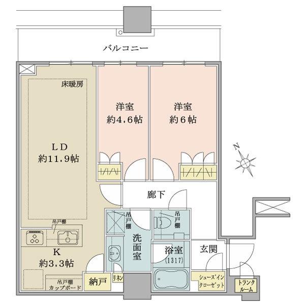 ブリリアタワーズ目黒 サウスレジデンスの間取図/29F/12,740万円/2LDK/61.24 m²
