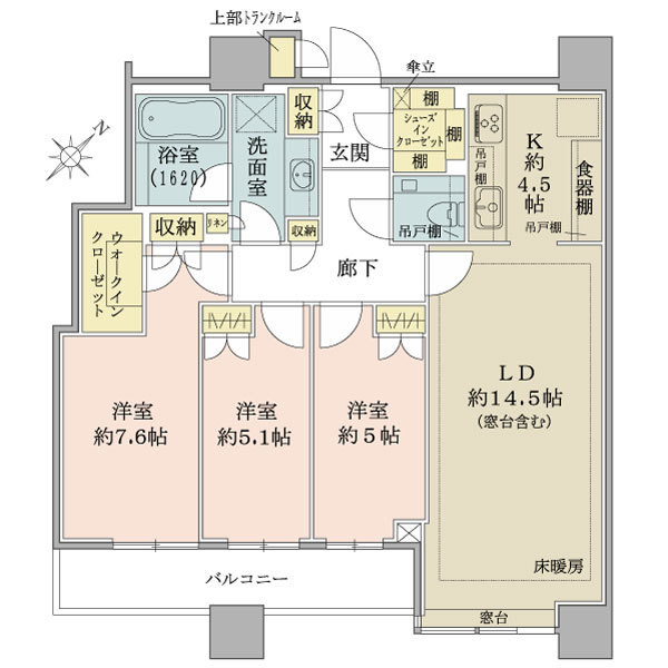 ブリリアタワーズ目黒 ノースレジデンスの間取図/38F/19,340万円/3LDK/85.56 m²