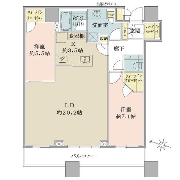 ブリリアタワーズ目黒 ノースレジデンスの間取図/36F/17,900万円/2LDK+wic/82.59 m²