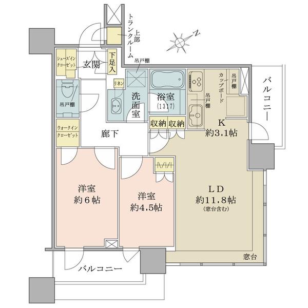 ブリリアタワーズ目黒 サウスレジデンスの間取図/16F/13,980万円/2LDK+wic/60.61 m²