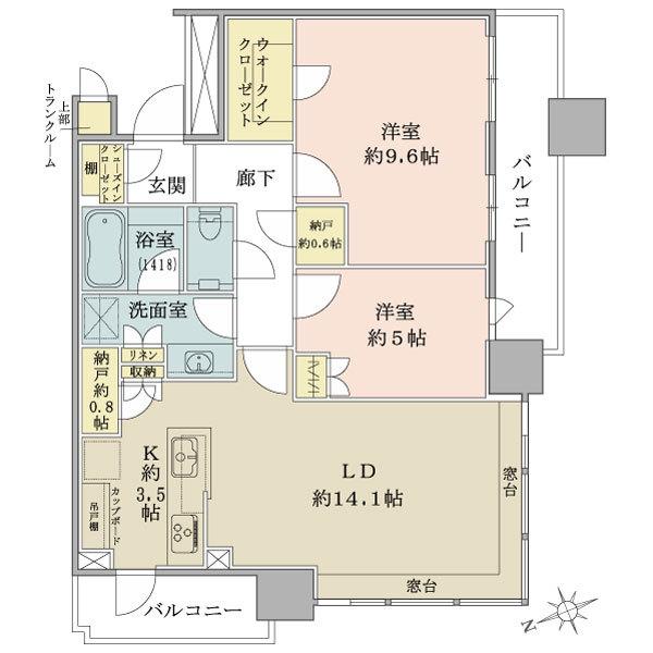 ブリリアタワーズ目黒 サウスレジデンスの間取図/30F/18,500万円/2LDK+WIC+SIC/75.55 m²