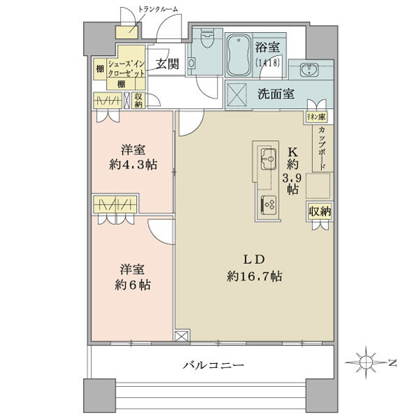 ブリリアタワーズ目黒 ノースレジデンスの間取図/3F/11,900万円/2LDK/70.13 m²