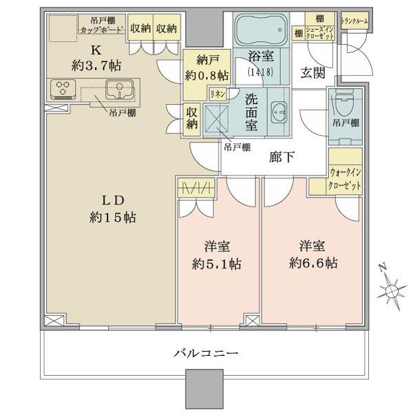 ブリリアタワーズ目黒 サウスレジデンスの間取図/19F/15,800万円/2LDK/72.11 m²