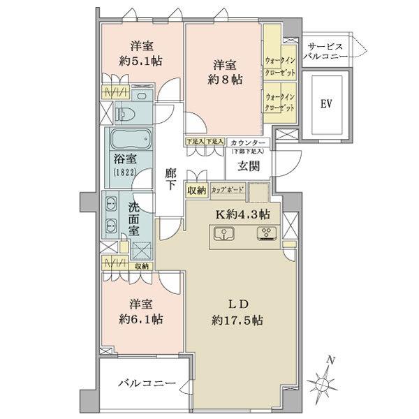 ブリリア 高輪 ザ コートの間取図/3F/17,480万円/3LDK/100.72 m²