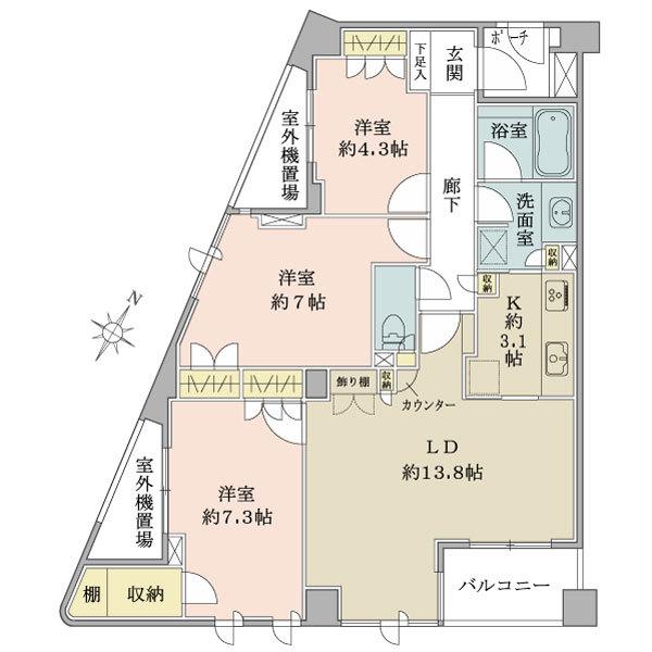 グランヴェール長者丸の間取図/2F/9,380万円/3LDK/81.33 m²