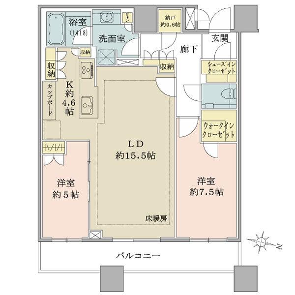 ブリリアタワーズ目黒 ノースレジデンスの間取図/38F/18,000万円/2LDK/79.58 m²