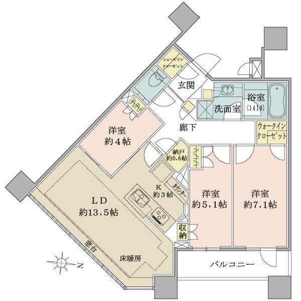 ブリリアタワーズ目黒 ノースレジデンスの間取図/21F/18,800万円/3LDK+N/77.34 m²