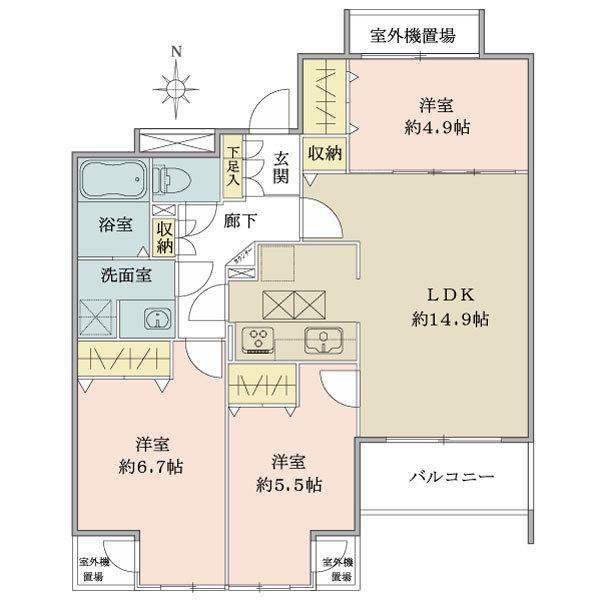 アールヴェール中延の間取図/1F/5,780万円/3LDK/71.53 m²
