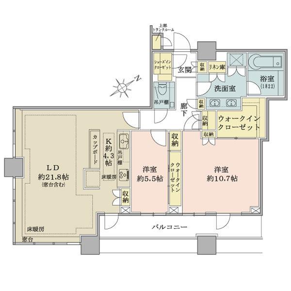 ブリリアタワーズ目黒 ノースレジデンスの間取図/36F/27,700万円/2LDK/103.55 m²