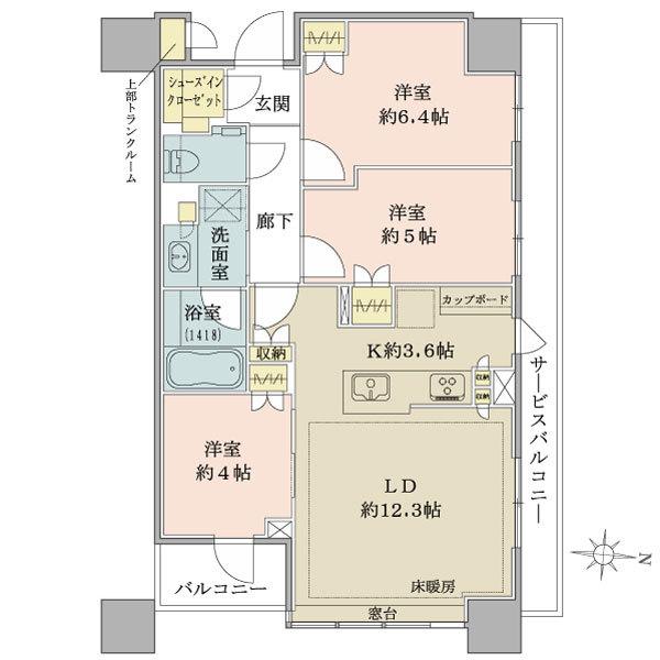 ブリリアタワーズ目黒 ノースレジデンスの間取図/16F/14,500万円/3LDK/68.55 m²