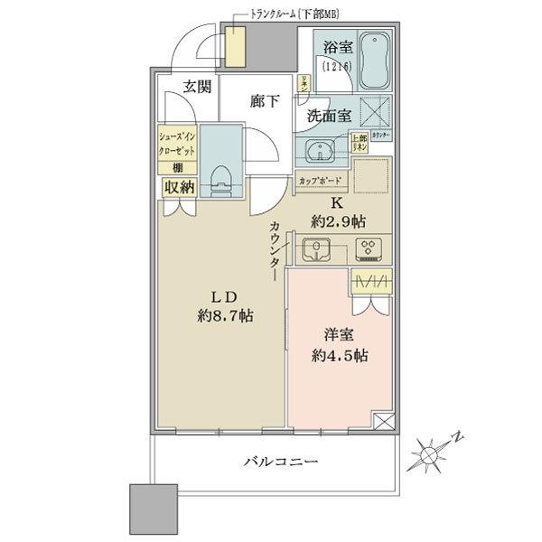 ブリリアタワーズ目黒 サウスレジデンスの間取図/5F/8,000万円/1LDK+SIC/41.08 m²
