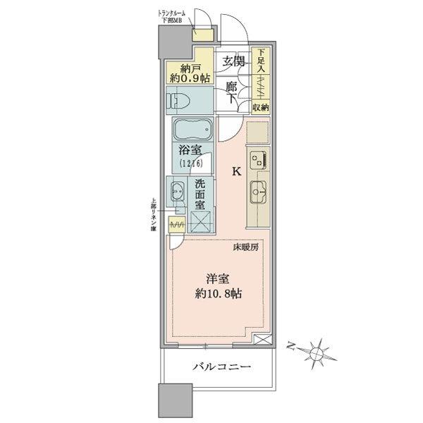 ブリリアタワーズ目黒 ノースレジデンスの間取図/7F/5,900万円/1R/30.99 m²