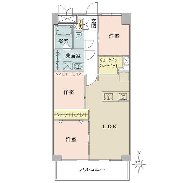 東建品川南ハイツの間取図/3F/3,790万円/3LDK/58.8 m²