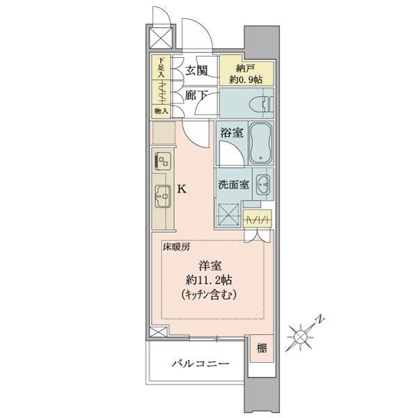 ブリリアタワーズ目黒 ノースレジデンスの間取図/21F/6,380万円/1R+N/33.62 m²