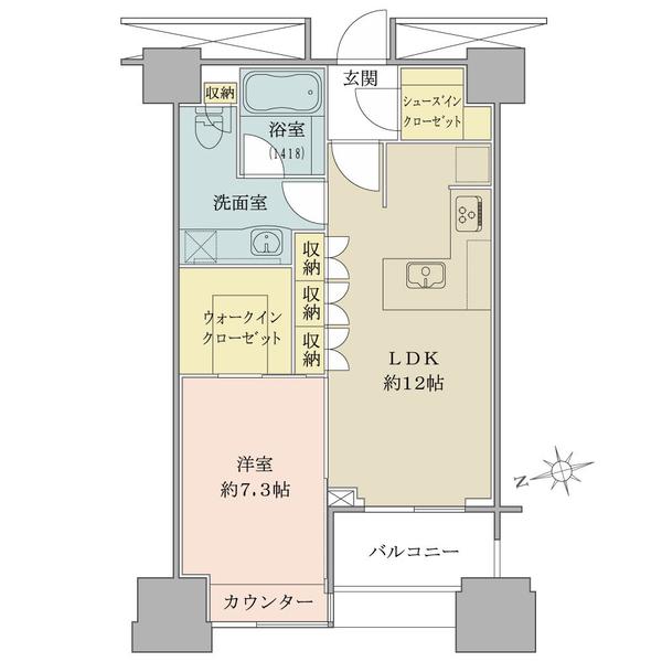 高輪ザ・レジデンスの間取図/8F/6,380万円/1LDK+WIC+SIC/50.29 m²