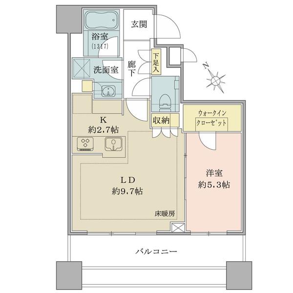 ブリリアタワーズ目黒 サウスレジデンスの間取図/9F/8,980万円/1LDK+WIC/45.97 m²