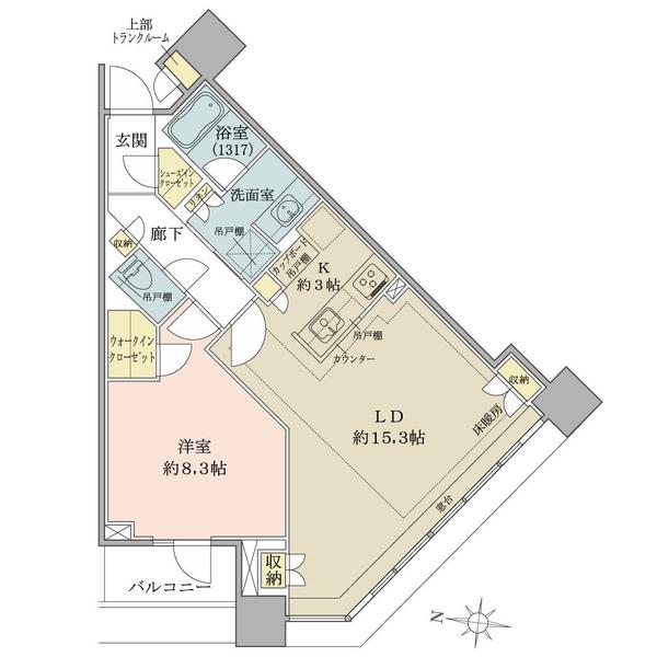 ブリリアタワーズ目黒 ノースレジデンスの間取図/3F/12,600万円/1LDK/64.01 m²
