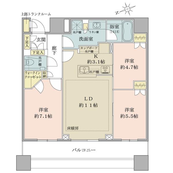 ブリリアタワーズ目黒 サウスレジデンスの間取図/28F/15,800万円/3LDK/72.49 m²