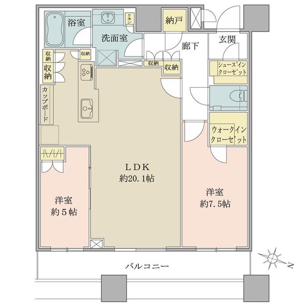 ブリリアタワーズ目黒 ノースレジデンスの間取図/39F/18,000万円/2LDK/79.58 m²