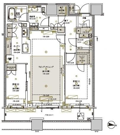 ブリリアタワーズ目黒サウスレジデンスの間取図/32F/19,800万円/2LDK/75.55 m²