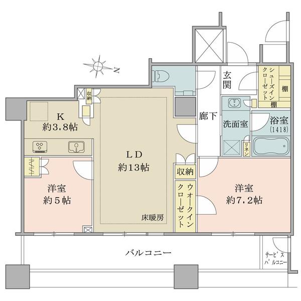 ブリリア大井町ラヴィアンタワーの間取図/6F/7,880万円/2LDK/68.62 m²