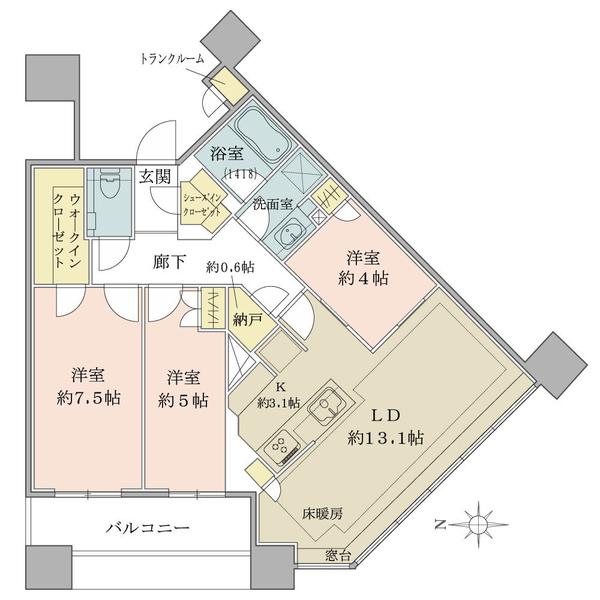ブリリアタワーズ目黒 ノースレジデンスの間取図/35F/18,330万円/3LDK+N/77.38 m²
