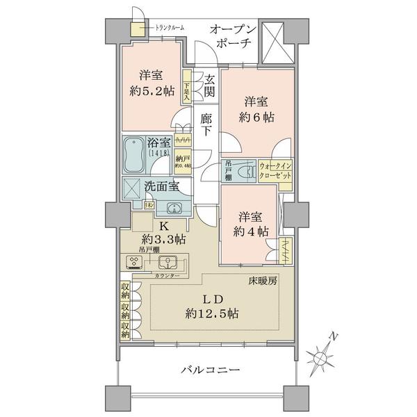 ブリリア有明スカイタワーの間取図/19F/6,340万円/3LDK+WIC/71.18 m²