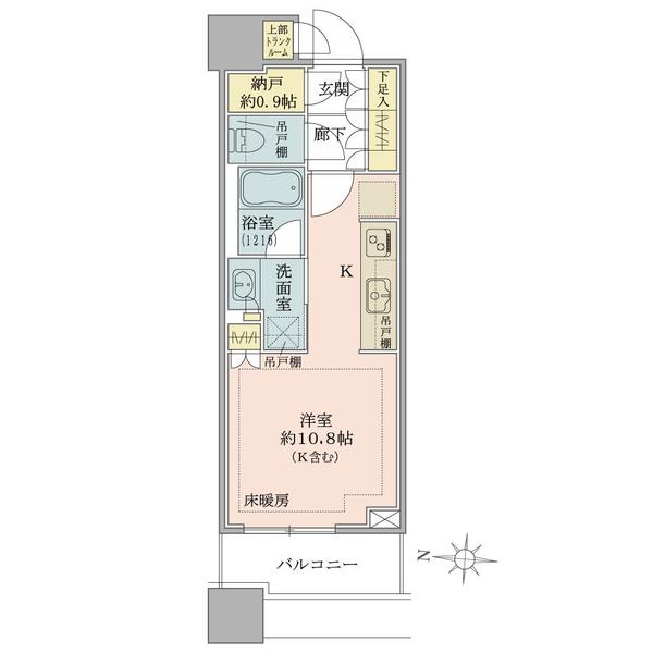 ブリリアタワーズ目黒 ノースレジデンスの間取図/18F/6,280万円/1R+N/30.78 m²